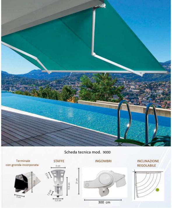 Serie:  9000 max  Tenda da sole a bracci con barra quadro 40x40